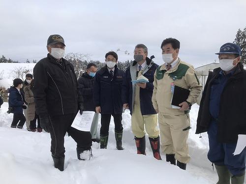 大雪災害現地調査(R3.1.5 県南)
